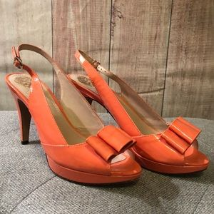Vine Camuto Ava heels. Patent coral. Size 8 1/2